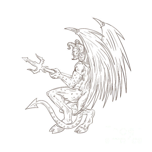 600x600 Demon Holding Pitchfork Drawing Digital Art By Aloysius Patrimonio