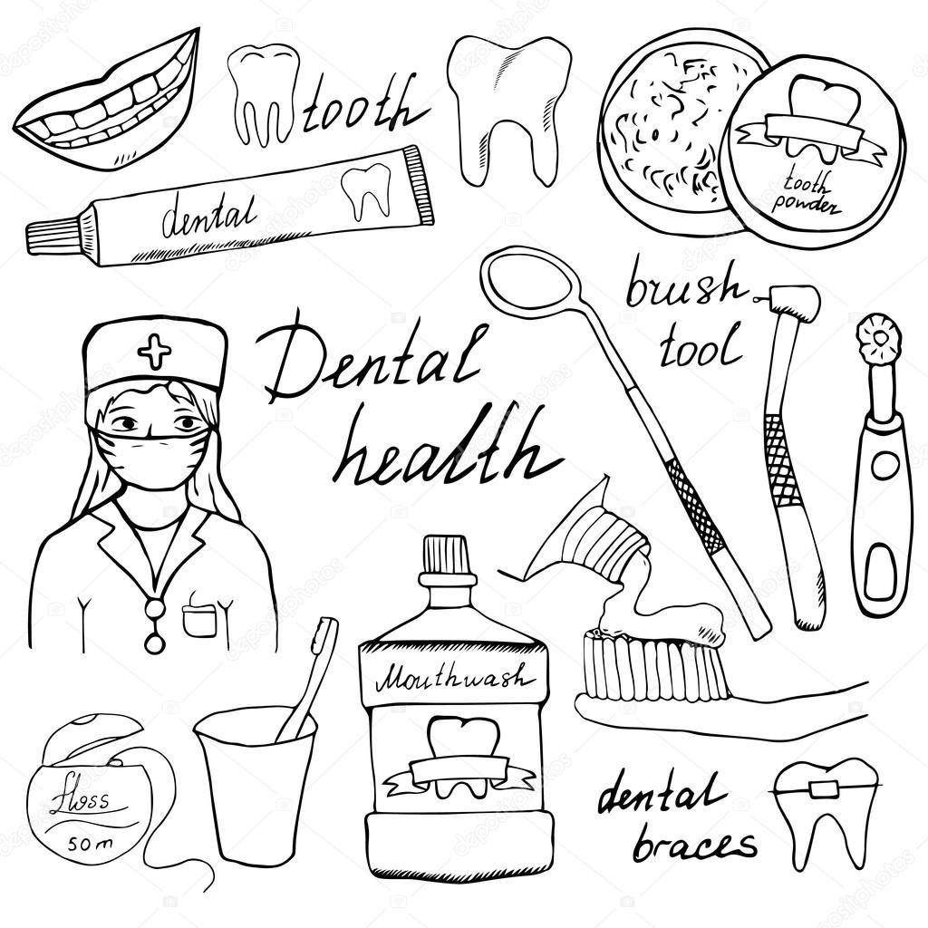 1024x1024 Dental Health Doodles Icons Set. Hand Drawn Sketch With Teeth