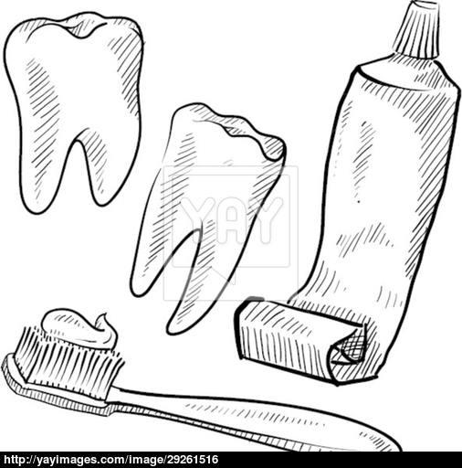 506x512 Dental Hygiene Objects Sketch Sketch Amp Drawing
