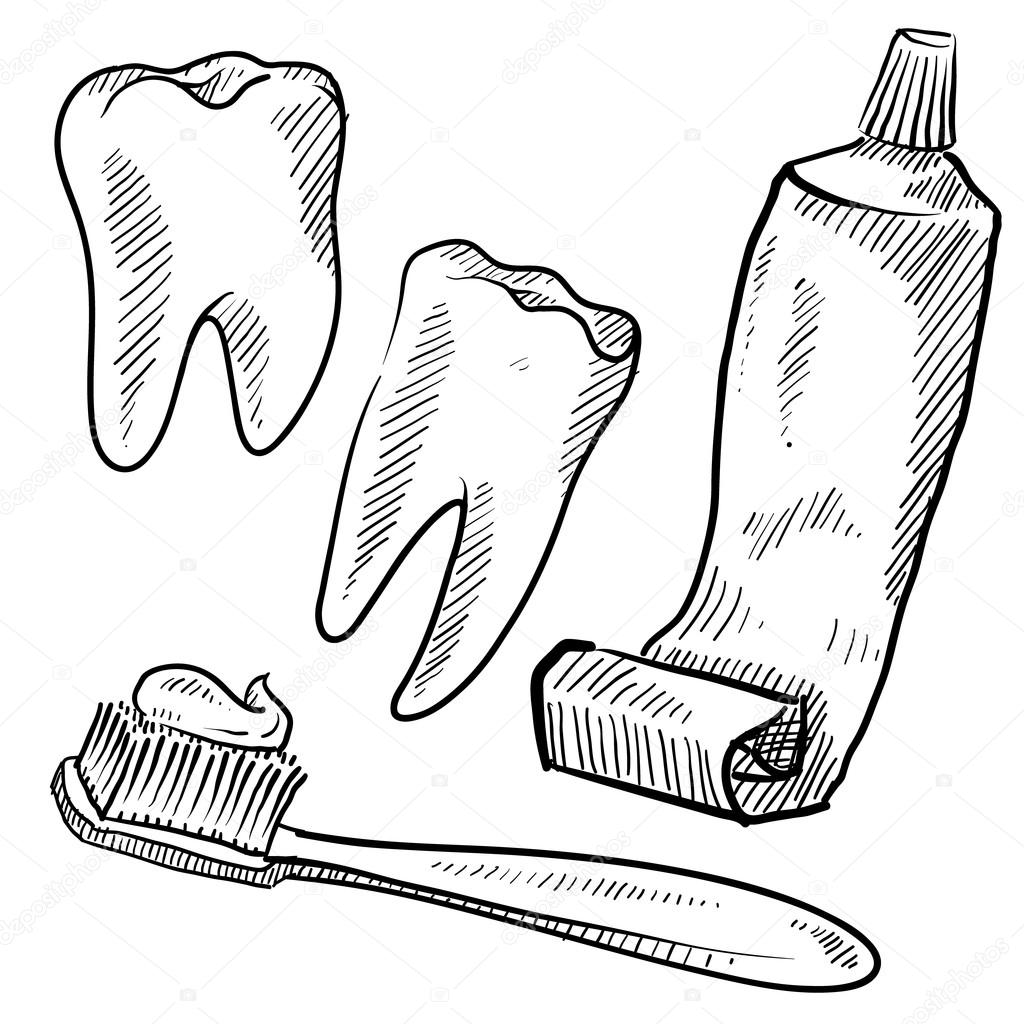 1024x1024 Dental Hygiene Objects Sketch Stock Vector Lhfgraphics