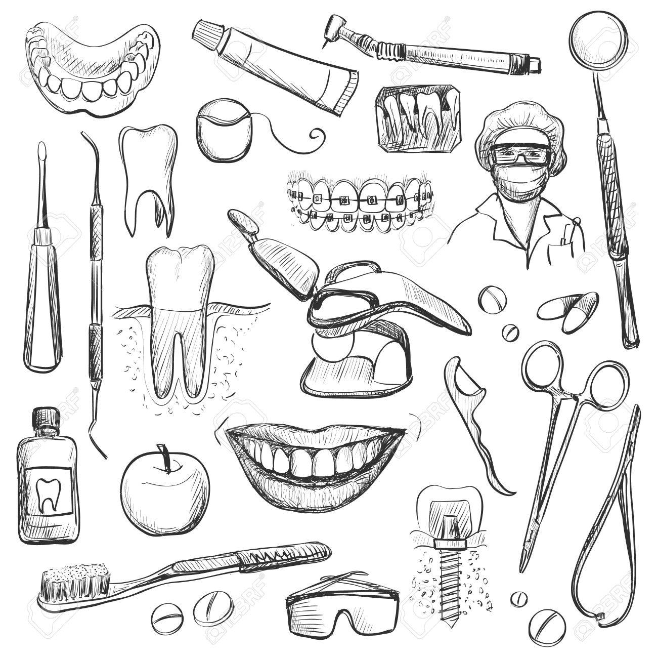 1299x1300 Set Of Dentist With Different Dental Equipment