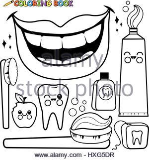 300x321 Dental Hygiene, Drawing Stock Photo 49217662