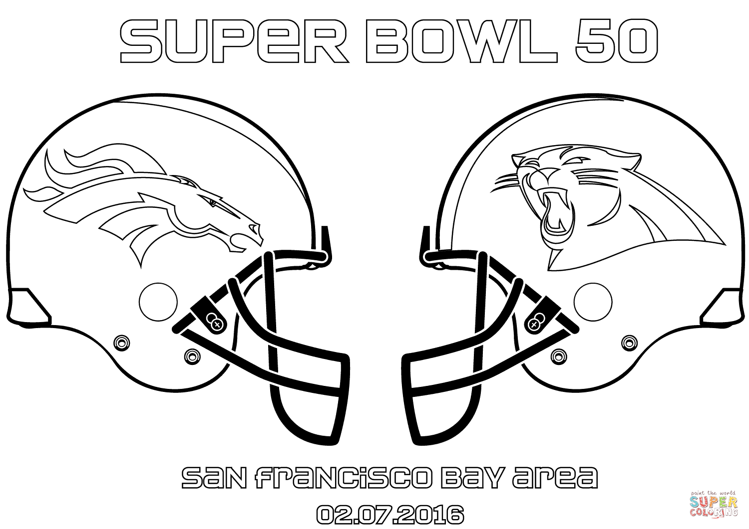 1500x1061 Super Bowl 50 Carolina Panthers Vs. Denver Broncos Coloring Page