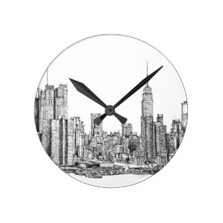 324x324 City Skyline Wall Clocks Zazzle