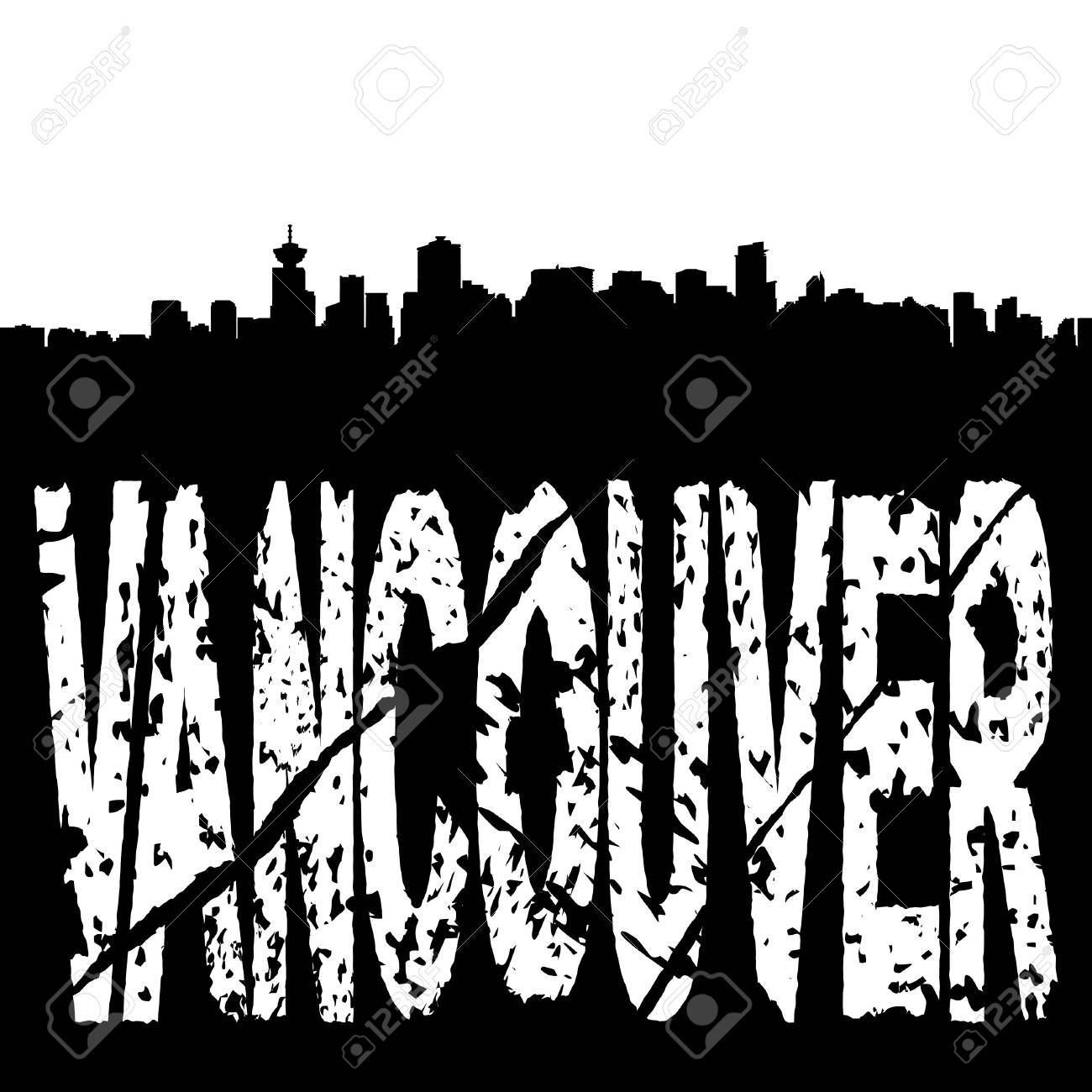 1300x1300 Vancouver Skyline With Grunge Text Illustration Stock Photo