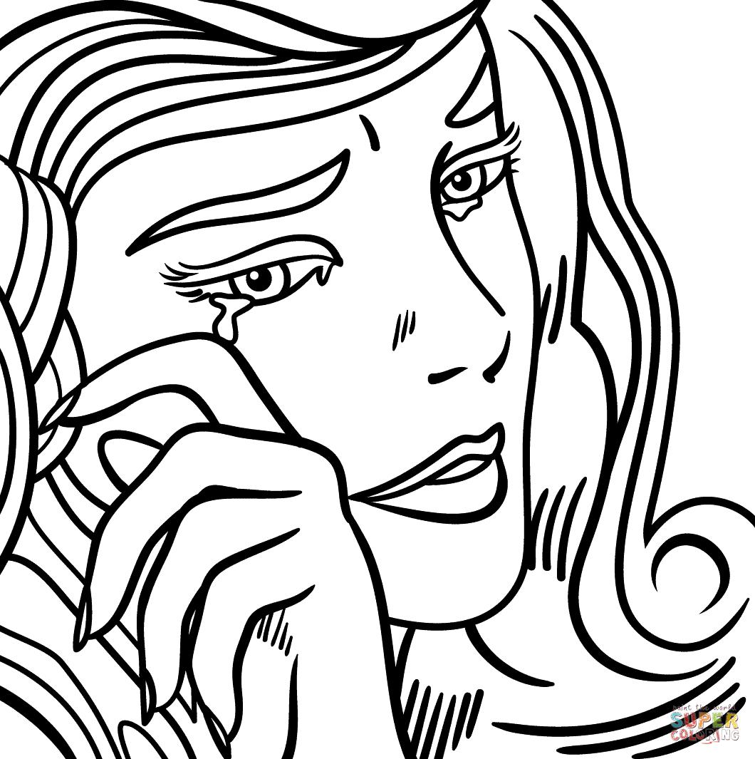 1060x1065 Line Drawing Of Crying Girl Depressed Sad Anime Girl Crying