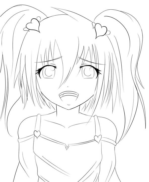 600x734 Upset Anime Girl Coloring Pages Bunny Girl Anime Coloring Pages