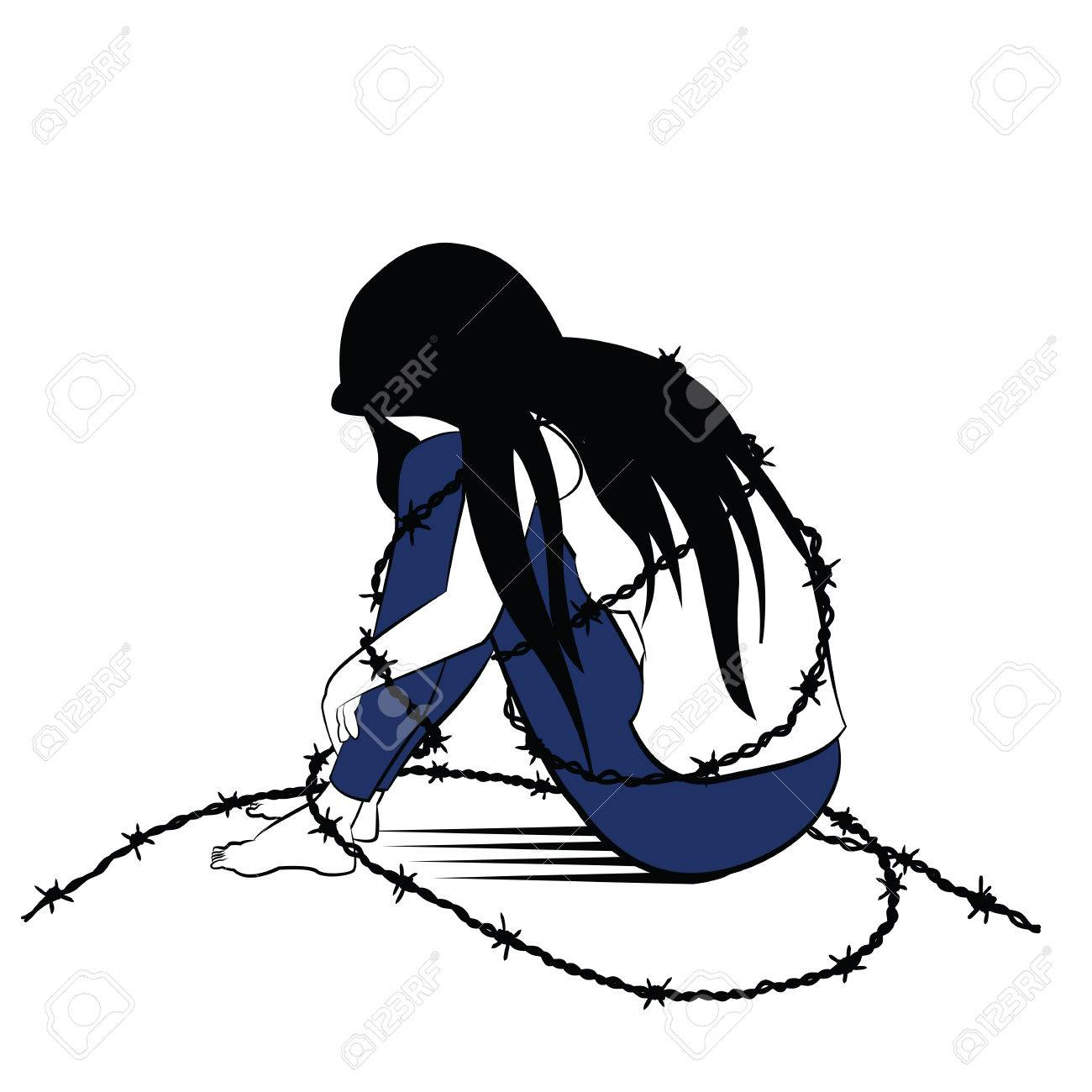 1300x1300 Vector Illustration Drawing In Ink Sketching Style, Lonely Woman