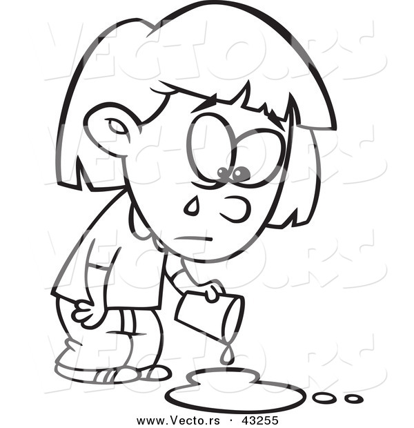 600x620 Vector Of A Sad Cartoon Girl Crying Over A Spilled Drink