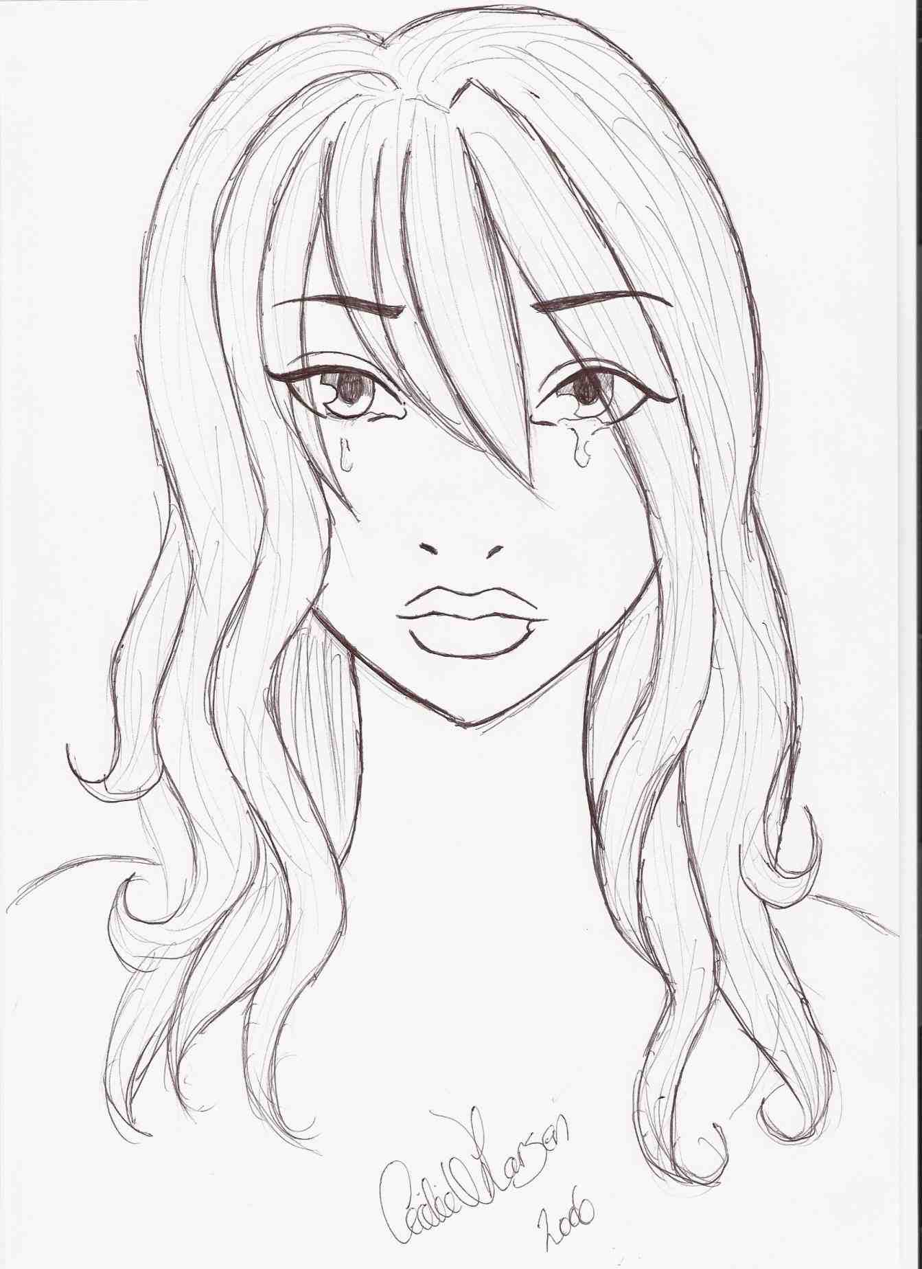 1343x1847 Black And White Drawings Of Girls Crying