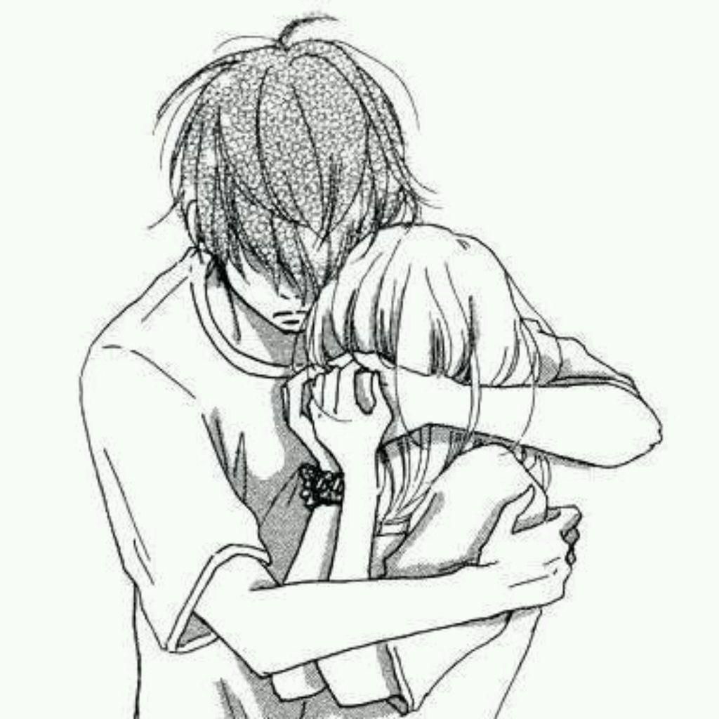 1024x1024 Boy And Girl Girl Crying Drawing Pics Depressed Sad Anime Girl