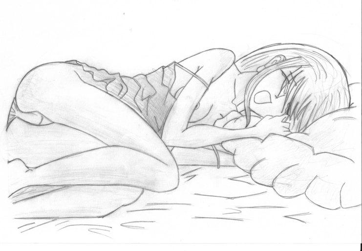 741x514 Crying Anime Girl Bed By Cyborgmermaid