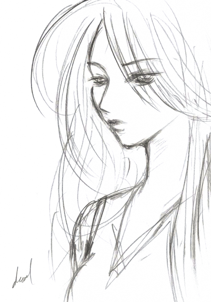 Depressed Girl Drawing