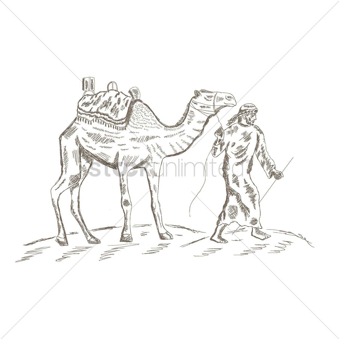 1300x1300 Middle Eastern Man Leading A Camel In The Desert Vector Image