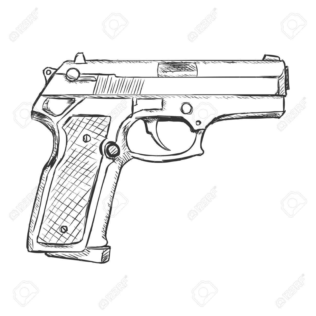 1300x1300 Vector Sketch Beretta Pistol On White Background Royalty Free