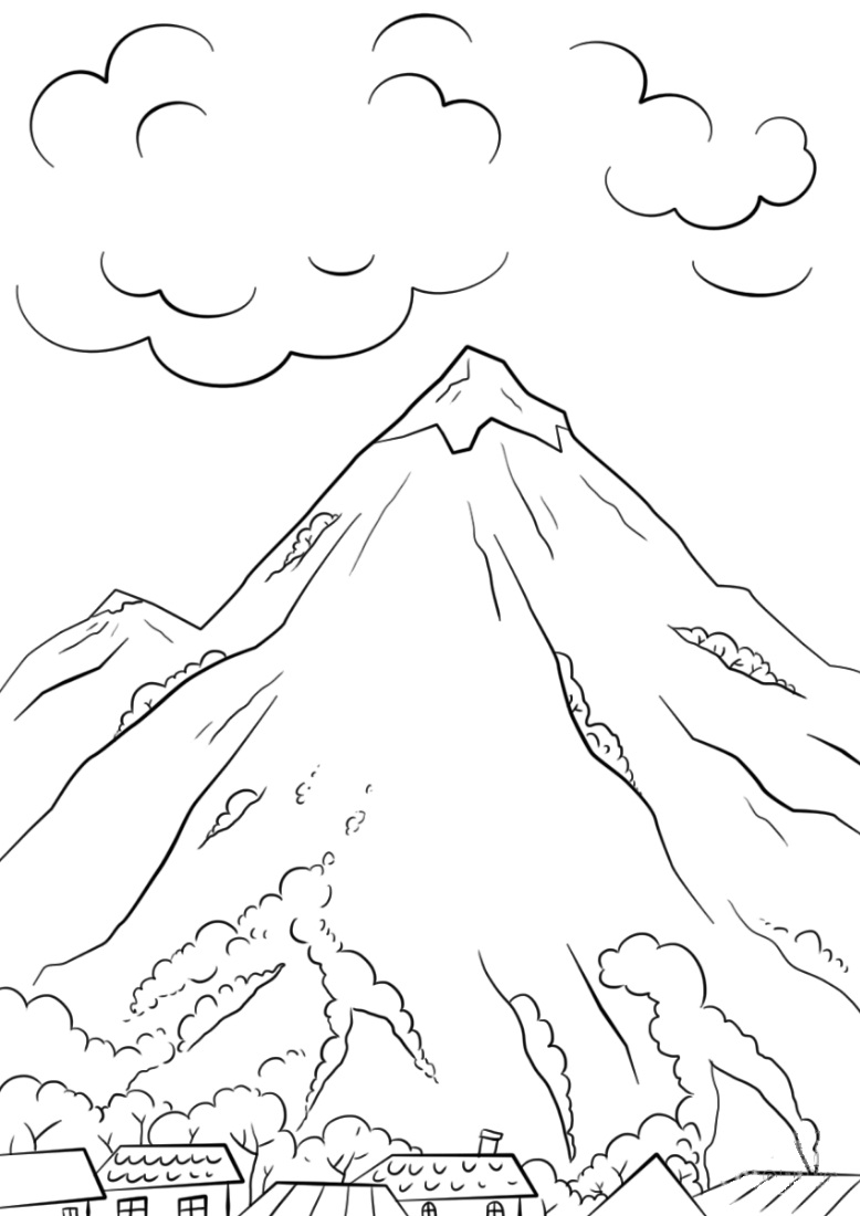 778x1100 Mountain Scene Coloring Page