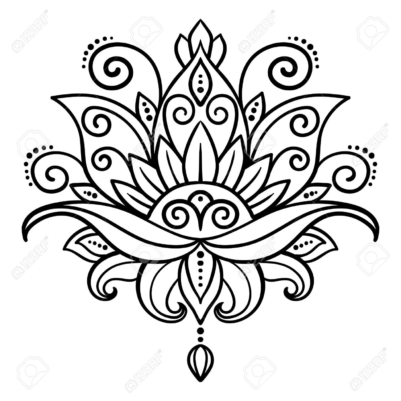 1300x1300 Vector, Abstract, Oriental Style, Flower, Lotus, Tattoo, Design