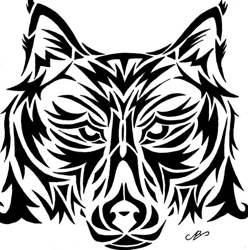 800x809 Wolf Tribal Design Drawing By Nikolai Bartolf