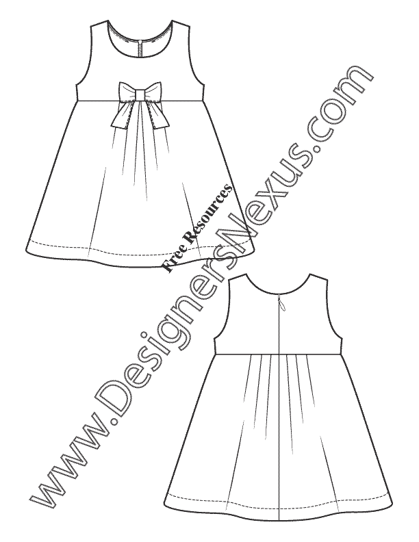 612x792 Free Illustrator Fashion Flat Sketches Childrens Apparel