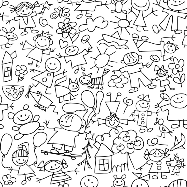 600x600 Kids Bedroom Drawing Stock Illustration Kids Room Graphical Sketch