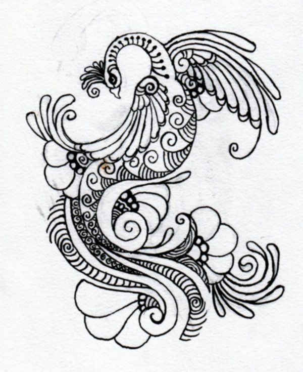 600x735 Henna Designs Drawings Peacock