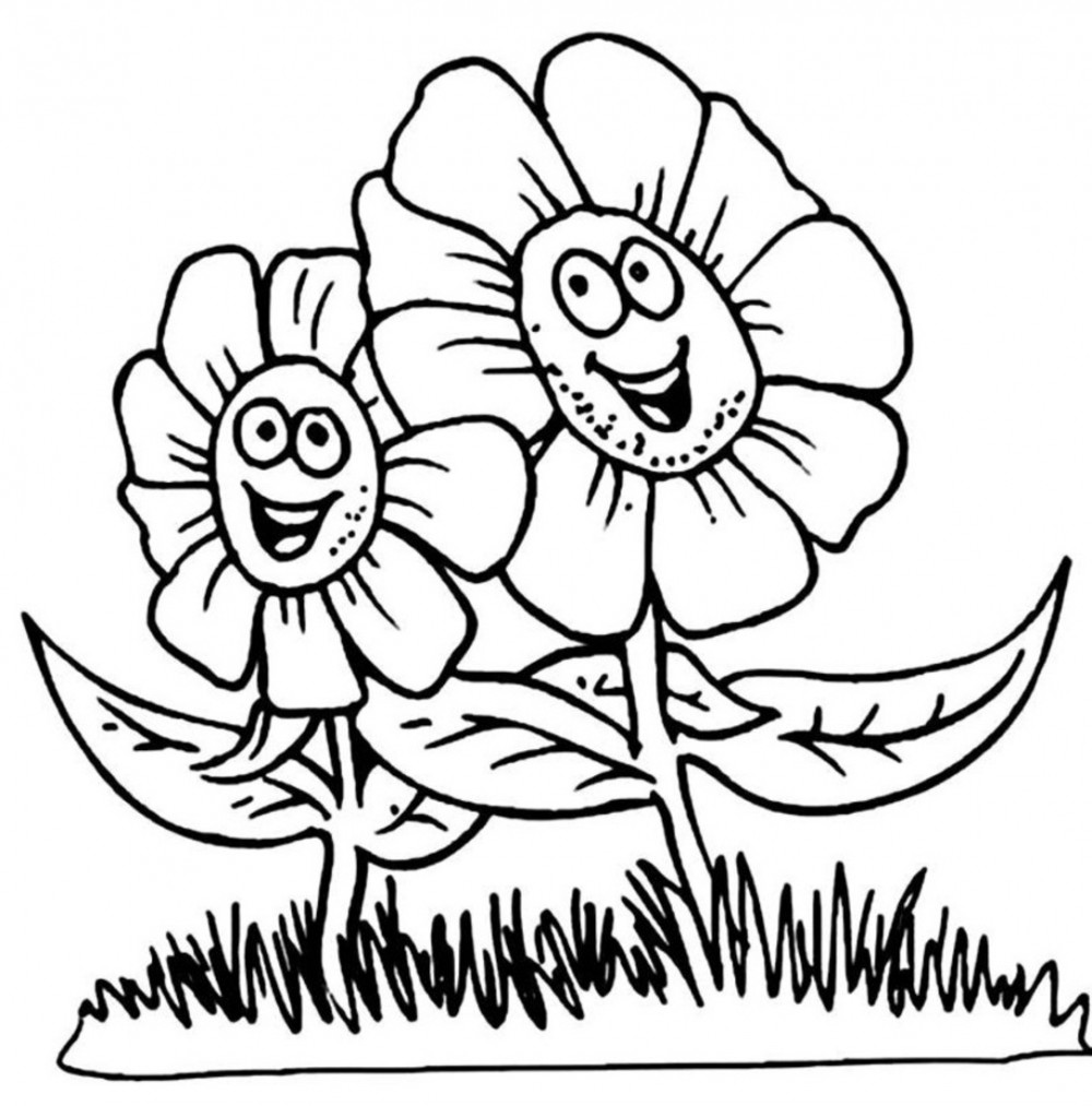 1000x1013 Coloring Pages For Kids Flowers Colouring In Good Draw Print