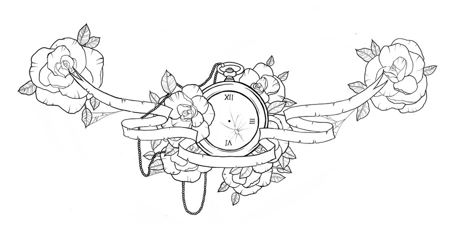 900x452 Lovely Pocket Watch And Flowers Chest Piece Tattoo Design By