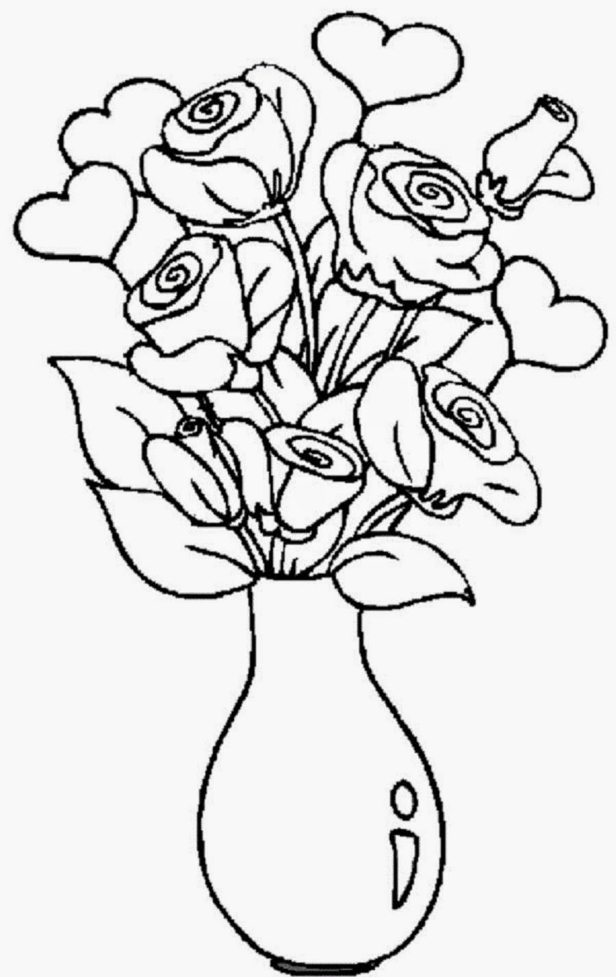 900x1426 Flower Pots With Roses Drawings Rose Flower Drawing Designs Roses