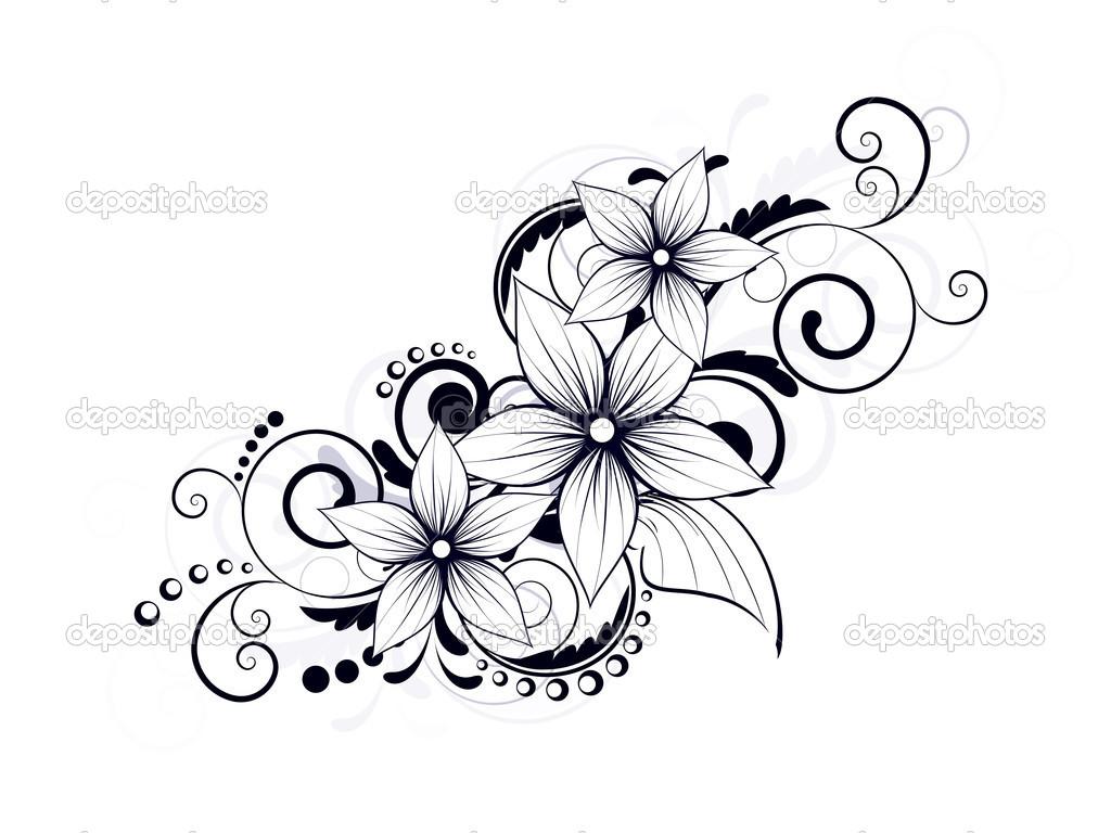 1024x768 Depositphotos 21645299 Floral Design Element With Swirls