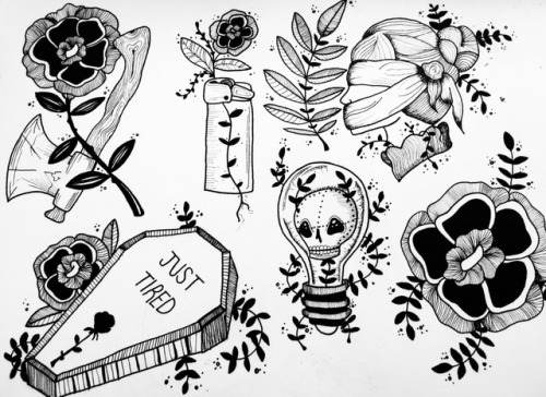 500x364 Flowers Tattoo Flash Tumblr