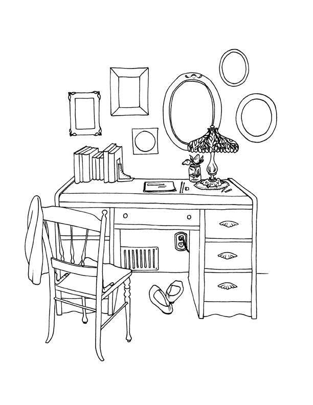 612x792 Girl's Desk Line Drawing Alexandra Doffing