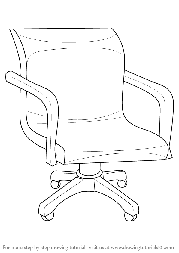 596x841 Learn How To Draw An Office Chair (Furniture) Step By Step
