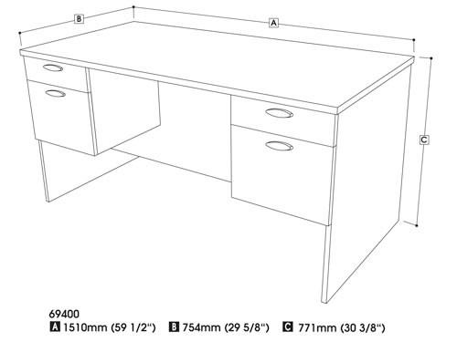500x375 Bestar 69400 Hampton Double Pedestal Modern Office Desk
