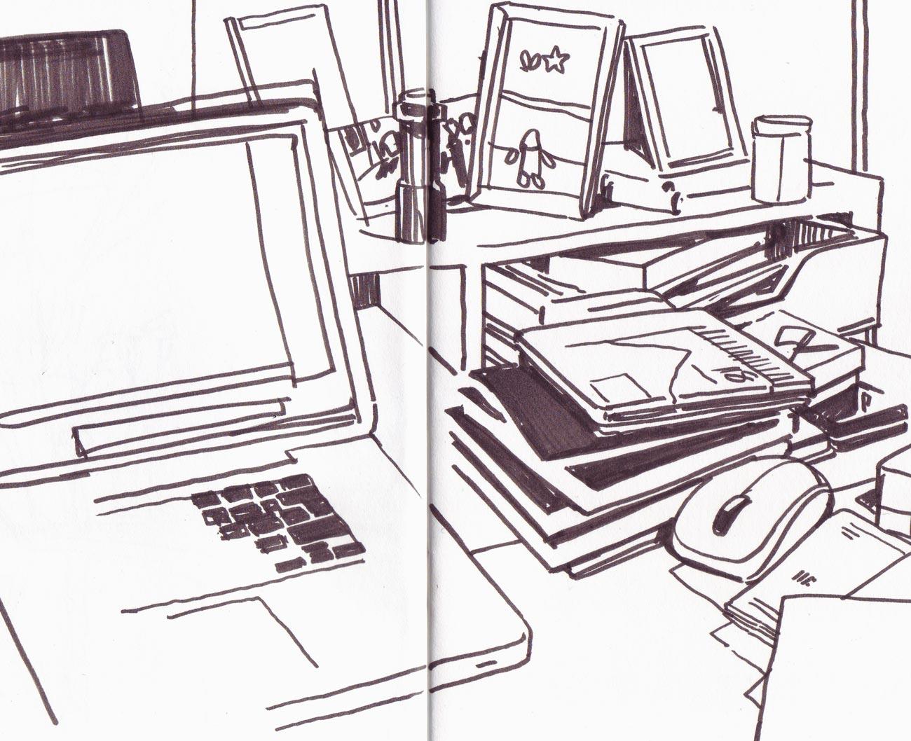 1300x1058 Urban Sketchers Switzerland Messy Desk