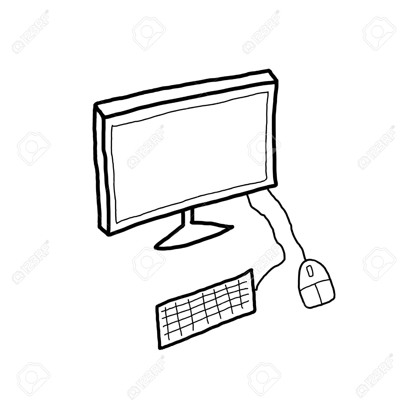 Desktop Computer Drawing