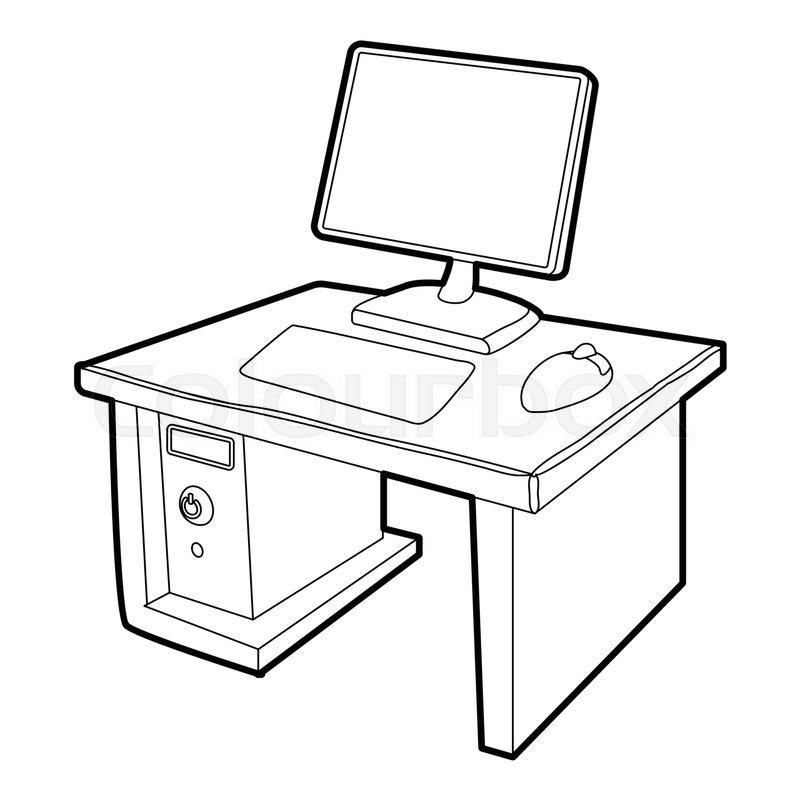 800x800 Desktop With Computer Icon. Isometric 3d Illustration Of Desktop