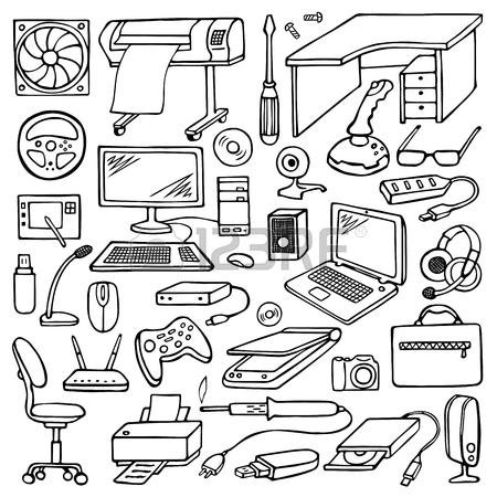 450x450 Hand Drawn Doodle Computer Set Royalty Free Cliparts, Vectors,