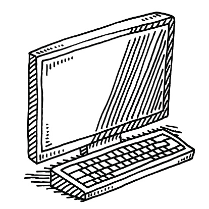 414x414 Hand Drawn Vector Drawing Of An Office Desk With A Computer