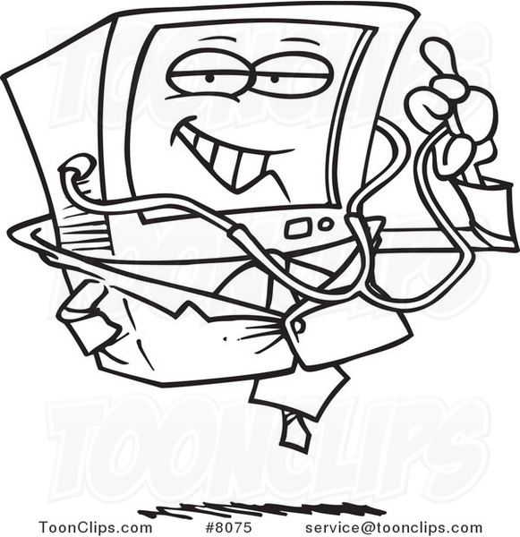 581x600 Cartoon Black And White Line Drawing Of A Desktop Computer Doctor