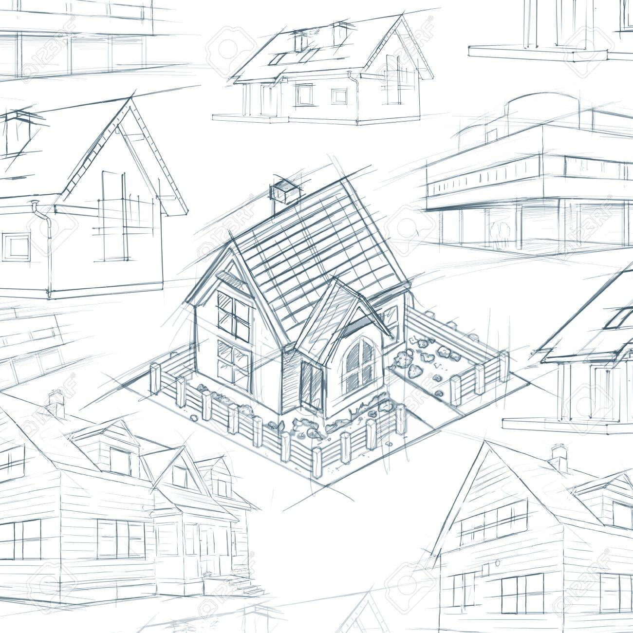 1300x1300 Architect Desktop House Sketch Background Illustration Stock Photo