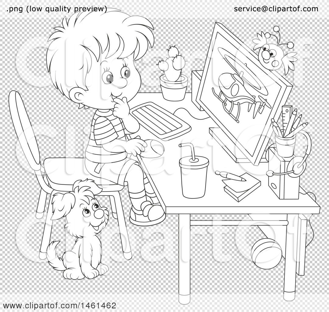 1080x1024 Clipart Of A Black And White Boy Using A Desktop Computer