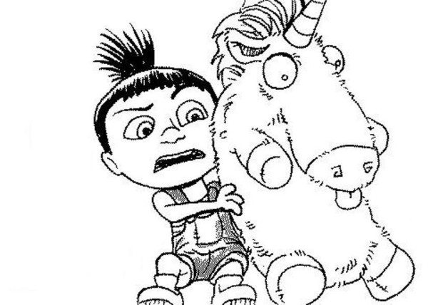 600x428 Agnes And Unicorn Despicable Me Easy Coloring Pages