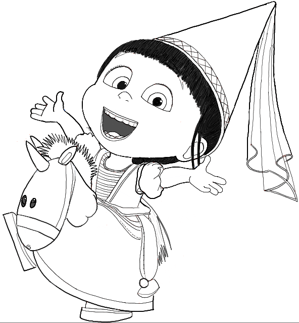 592x638 Despicable Me Drawings How To Draw Agnes From Despicable Me