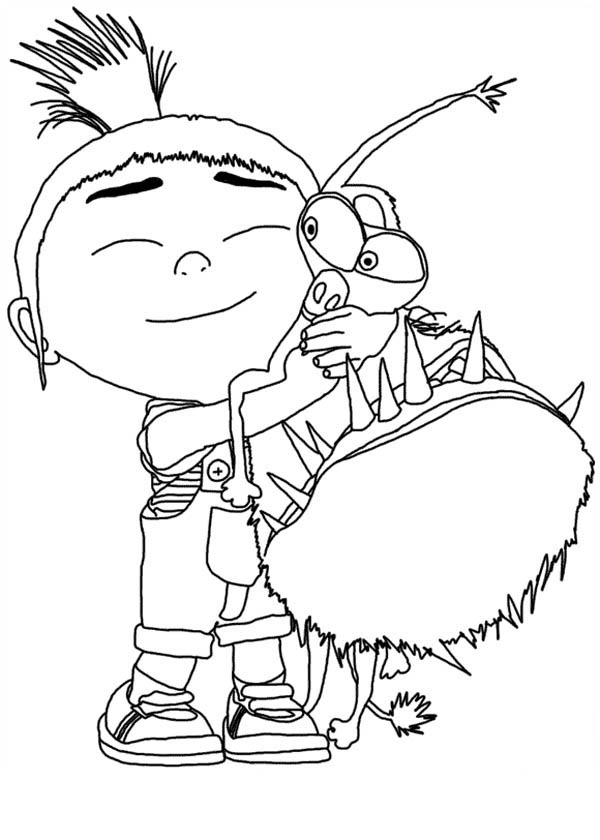 600x840 Agnes Hugging Grus Dog Despicable Me Coloring Page