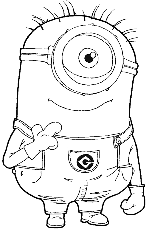 492x778 Printable Despicable Me Coloring Pages For Kids Cool2bKids 500x778 Step 097 How To Draw Kevin The Minion From With