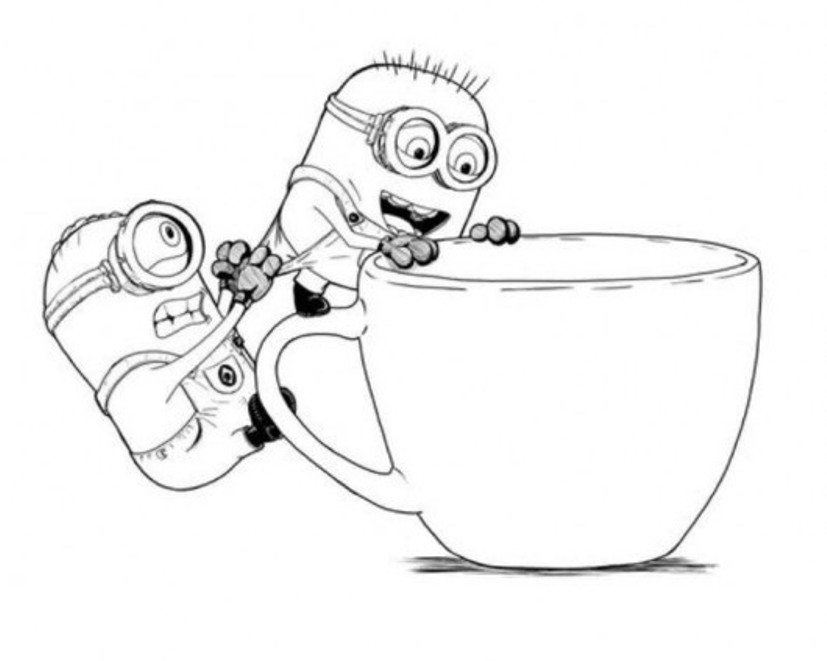 827x661 Cute Cartoon Minions Despicable Me Coloring Pages