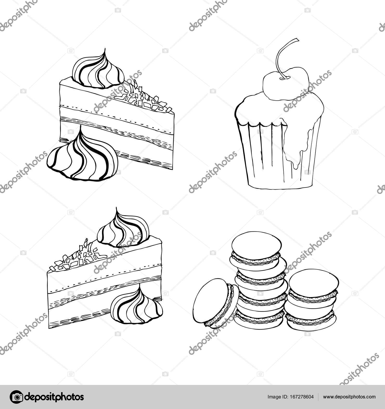 1600x1700 Cakes, Cupcakes And Pastry Desserts. Vector Muffin, Creamy Pie