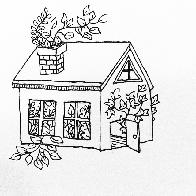 640x640 Cute Lil House Drawing Inspired By A Paper Sculpture I Made Last
