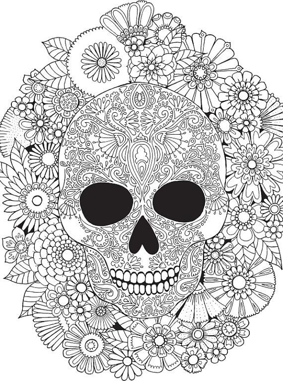570x767 Floral Skull