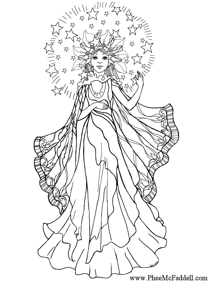 670x900 Light Angel Fantastical Coloring Pages